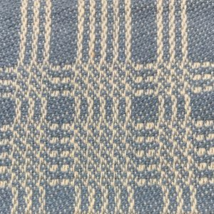 Louise Lacoste Technique de variations sur 8 cadres, demi-unité de satin de 5. Chaîne 30 fils au pouce coton naturel 2/16, trame coton bleu 2/16